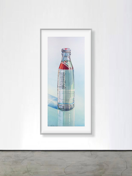 Apollinaris: Apollinaris Water Bottle on reflecting surface. Watercolour, 120 x 50 cm. Artwork by Petra Levis