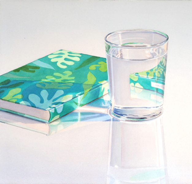 Le Jardin de Matisse: Glass of Water and Book with green Matisse book jacket on reflecting surface. Watercolour, 58 x 75 cm. Artwork by Petra Levis