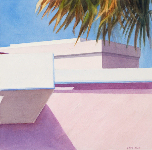 Florida: Pink Wall with strong shadow under blue sky. Aquarell, 50 x 50 cm. Artwork by Petra Levis