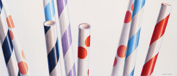 Blue Stripes, Red Dots: Gemusterte Papier-Strohhalme. Aquarell, 30 x 70 cm. Artwork by Petra Levis