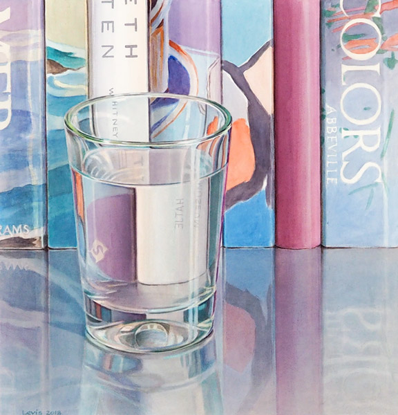Books: Glass of water in front of row of artbooks. Watercolour, 55 x 54 cm. Artwork by Petra Levis