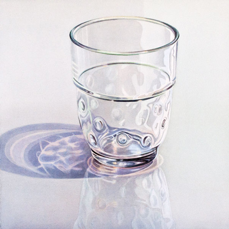 Bouzigues: Glass on reflecting surface. Watercolour, 60 x 60 cm. Artwork by Petra Levis