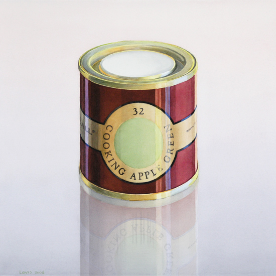 Cooking Apple Green: Farrow and Ball Farbdose. Aquarell, 52 x 52 cm. Artwork by Petra Levis
