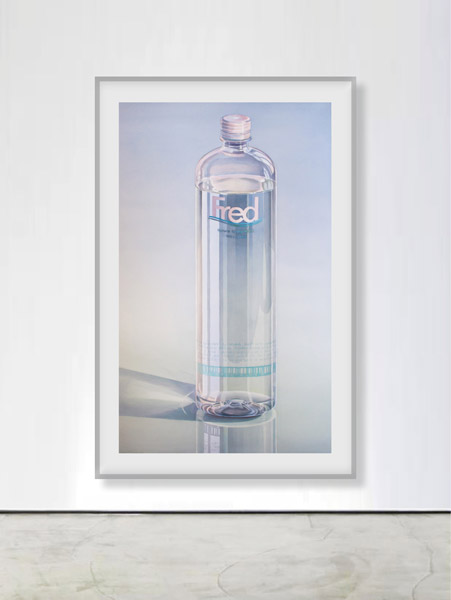 Fred: Large Fred-Water Bottle on reflecting surface. Watercolour, 125 x 77 cm. Artwork by Petra Levis