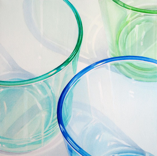 Gläser: 3 green an blue glasses; Detail view. Watercolour, 55 x 55 cm. Artwork by Petra Levis