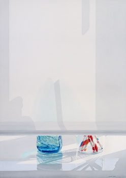 Light and Shadow patterns on pulled-down window shade; remaining view shows turquoise bottle and glass with straws. Watercolour, 117 x 83 cm. Artwork by Petra Levis