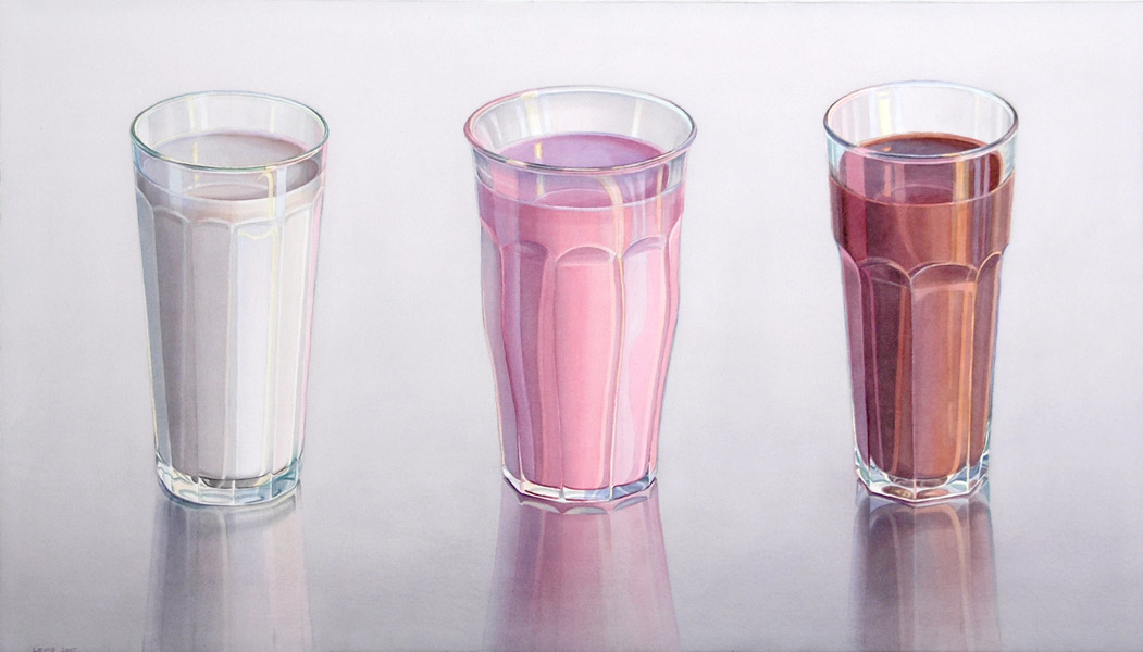 Milch, Erdbeer, Schokolade: 3 transparent glasses in a row filled with milk, strawberrymilk and chocolate. Watercolour, 67 x 117 cm. Artwork by Petra Levis