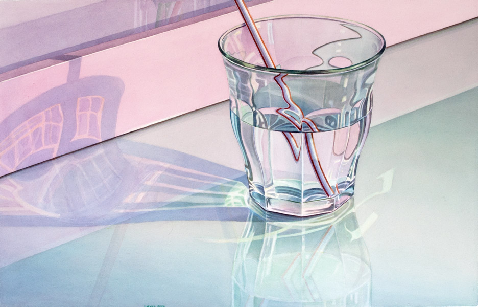 Picardie: Glass with water and striped straw on pink tablet. Watercolour, 60 x 95 cm. Artwork by Petra Levis