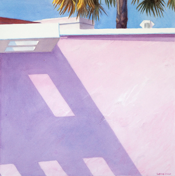 Florida: Pink Wall with strong shadow. Aquarell, 50 x 50 cm. Artwork by Petra Levis