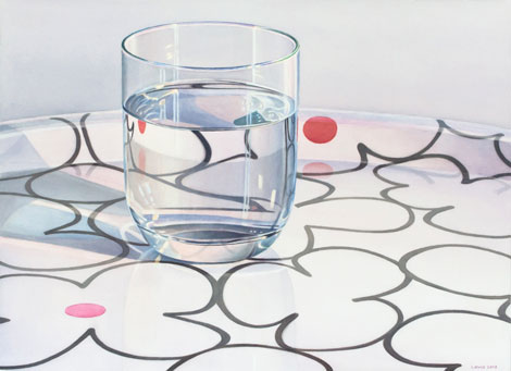 Red Dot: Glass of water standing on a white tray with black flower ornaments and pink and red dots. Watercolour, 60 x 80 cm. Artwork by Petra Levis