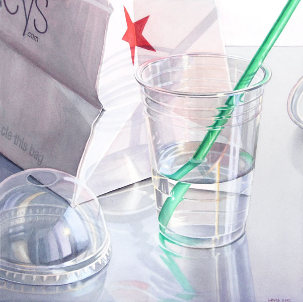 Red Star: Cup with water and green straw in front of Macys shopping bag. Watercolour, 50 x 50 cm. Artwork by Petra Levis