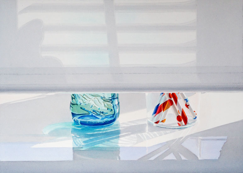 Selters: Light and Shadow patterns on pulled-down window shade; remaining view shows turquoise bottle and glass with straws. Watercolour, 50 x 70 cm. Artwork by Petra Levis