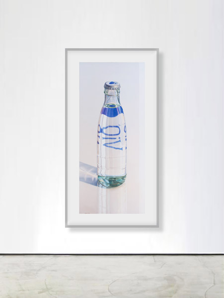 Vio: Bottle of Water on reflecting surface. Watercolour, 120 x 52 cm. Artwork by Petra Levis